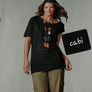 {S} Cabi Black Asymmetrical Drama Blouse